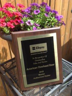 clopay master authorized dealer plaque